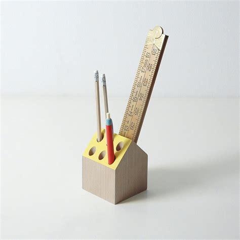 Desk Pencil Holder by Yellow Pencil Holder Desk Organizer Wooden Desk Tidy Home