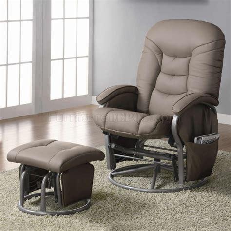 Beige Leatherette Modern Swivel Glider Chair W Ottoman Swivel Glider Chair With Ottoman