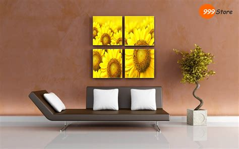 buy frames living room sun flowers canvas printed