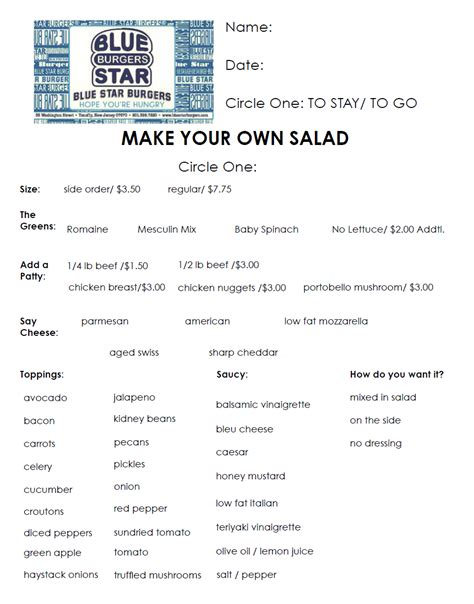 make your own menu template make your own salad at blue burgers in tenafly