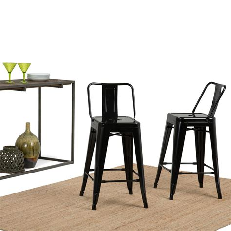 Black Metal Counter Height Stools by Simpli Home 24 In Black Metal Counter Height Stool