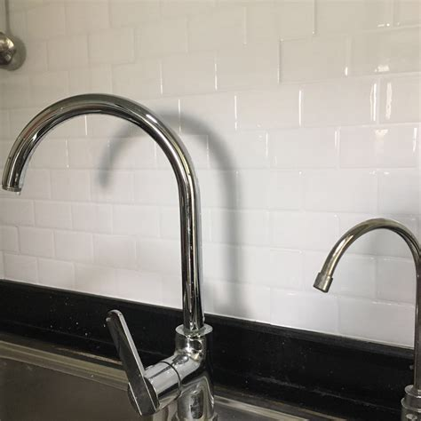 kitchen backsplash tile peel and stick white brick subway