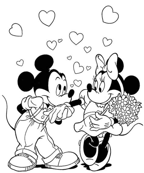 Mickey Love Minnie Coloring Page Color Pages Pinterest Mickey Mouse Valentines Day Coloring Pages