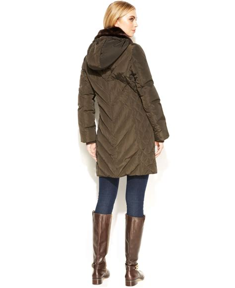 Michael kors Michael Petite Hooded Quilted Parka in Green