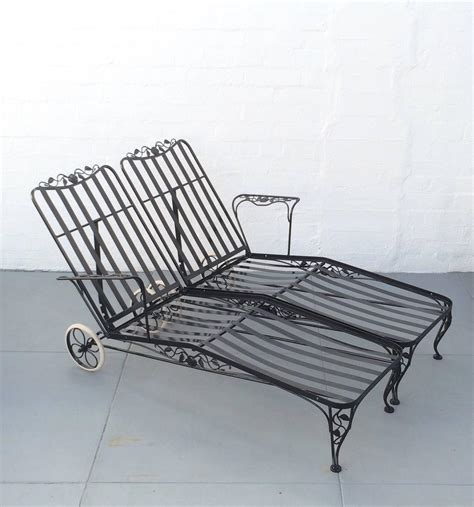 Black Wrought Iron Patio Chaise Lounge by Wrought Iron Lounge Chaise For Two Designed By