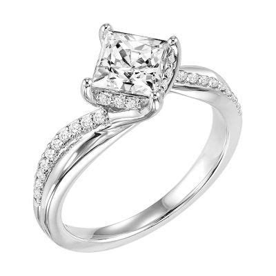 artcarved princess cut twisted engagement ring 31 v304fcw