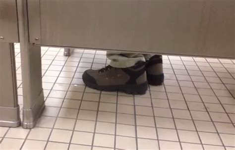 tapping your foot in a bathroom stall