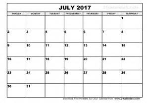 Calendar 2017 July To December July 2017 Calendar Printable