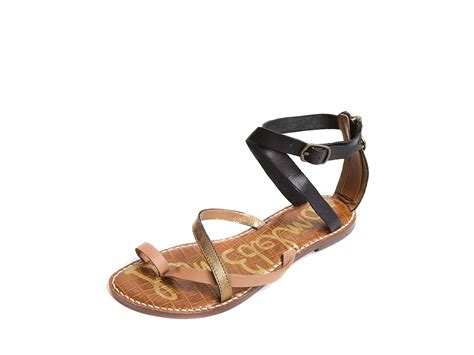 edelman sandals sam edelman sam edelman garner flat sandals in brown lyst
