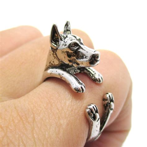 puppy ring 3d doberman puppy animal wrap ring in shiny silver sizes 5 to 9 183 dotoly animal
