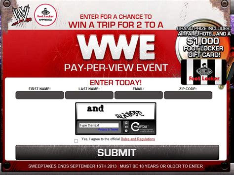 Footlocker Sweepstakes - wwe foot locker sweepstakes
