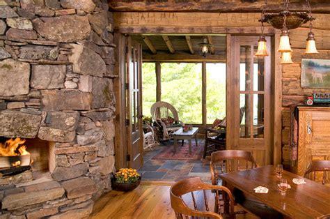 Open Floor Plan Cottage woman lake rustic living room minneapolis by big