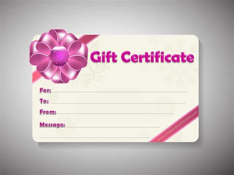 Template For Gift Certificate free gift certificate template customizable