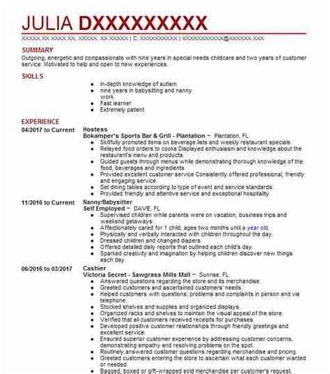 Hostess Sample Resume Duties Cover Letter