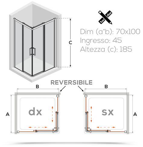 box doccia 70x100 cristallo box doccia 70x100 cm in cristallo temperato trasparente 6 mm