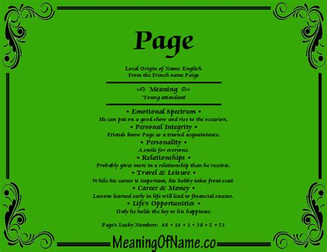 meaning of the name page meaning of name