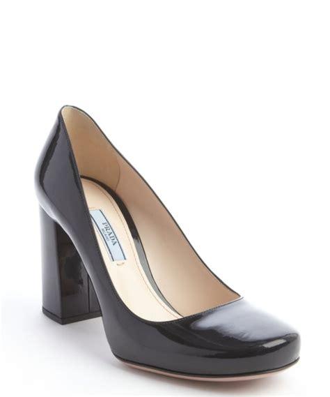 Prada Olympia Heels 9948 prada black leather block heel pumps in black lyst