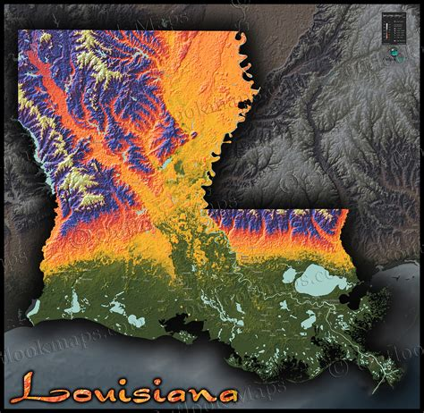 south louisiana elevation map louisiana physical map colorful 3d terrain topography