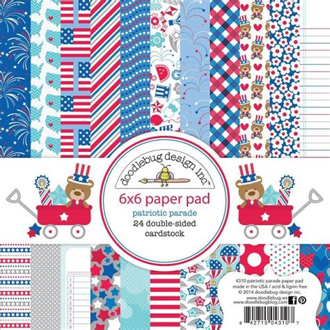 Sale Import Usa Scrapbook Paper 12 X12 American 02 doodlebug design patriotic parade 6x6 the st simply ribbon store