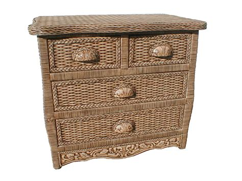 Rattan Drawer Storage Unit antique brown wicker rattan 4 drawer storage unit