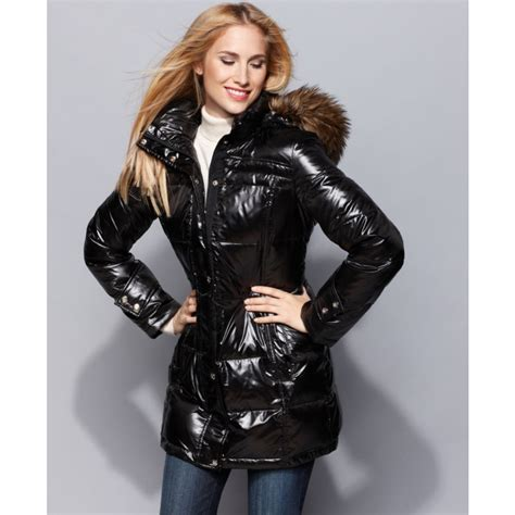 Calvin Klein Hooded Faux Fur Trim Quilted Puffer Coat by Calvin Klein Shine Hooded Faux Fur Trim Quilted