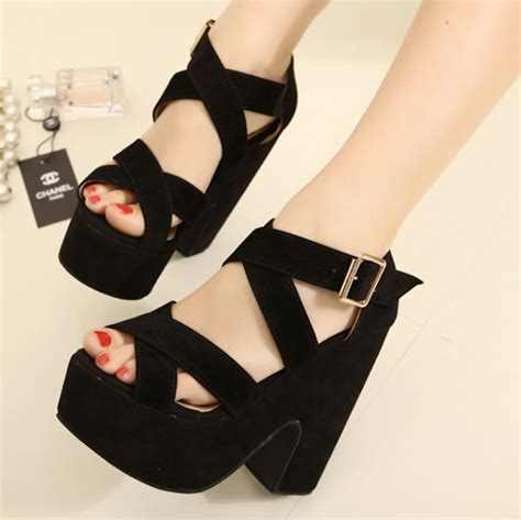 summer high heeled shoes thick heel black wedges