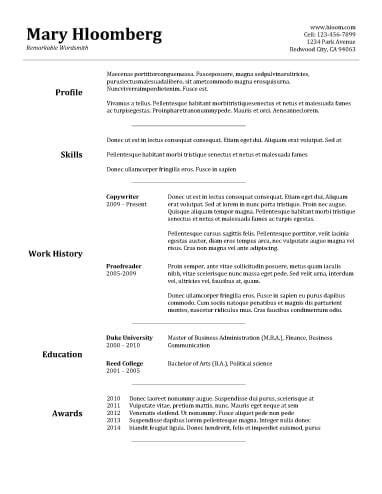 30 Basic Resume Templates Basic Resume Template