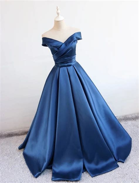 Blue Dress Blue Rsby 1496 navy blue satin v neck gown prom dresses 2018 the shoulder evening gowns prom evening