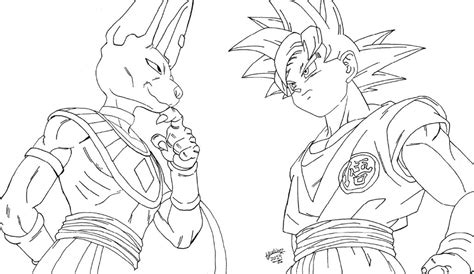 dragon ball z battle of gods 2 coloring pages lineart goku vs bills dragonball z battle of god by