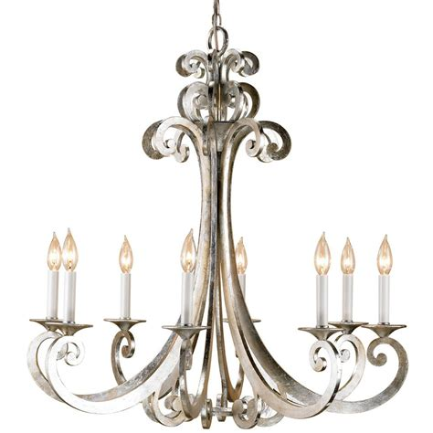 Modern Silver Chandelier Contemporary Silver Scroll 8 Light Chandelier Kathy Kuo Home