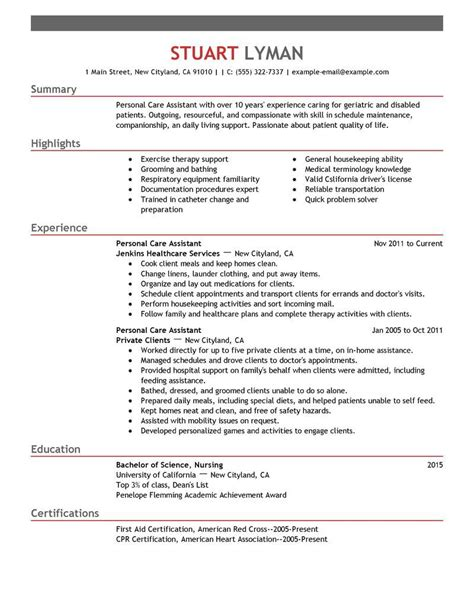 free sle resume for aide pca resume free excel templates