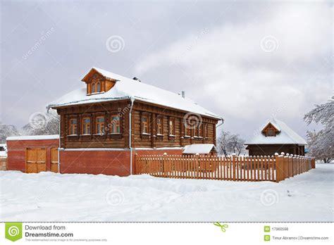 Wooden Russian House In Winter Covered With Snow Stock | wooden russian house in winter covered with snow stock