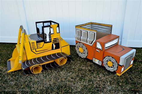 How To Make A Box Out Of Construction Paper - diy cardboard box bulldozer grey house harbor