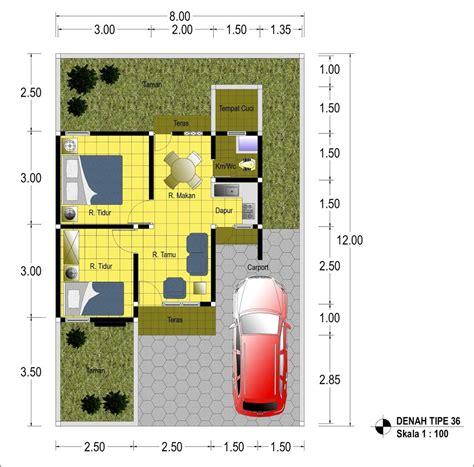 denah rumah minimalis type 36 plus ukurannya secara lengkap design arsitektur 2017