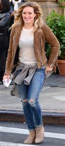Hilary Duff Wardrobe by Hilary Duff Wears A Fringed Suede Jacket And Ripped