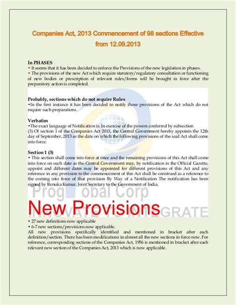Companies Act Sections by Companies Act 2013 Commencement Of 98 Sections Effective