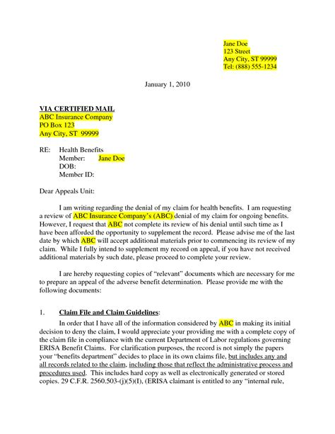 best photos of insurance appeal letter sle insurance