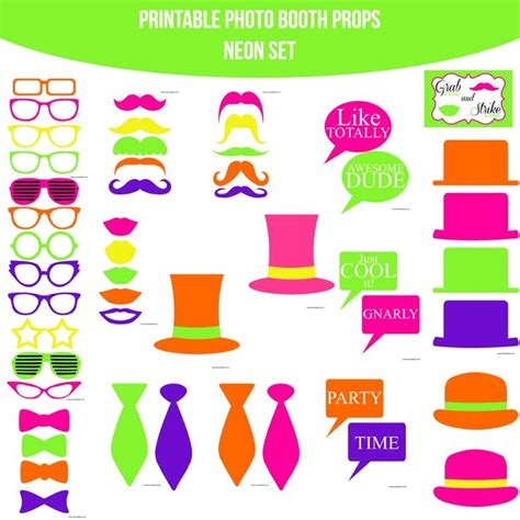 Printable Neon Photo Booth Props | 17 best images about glow in the dark neon party on