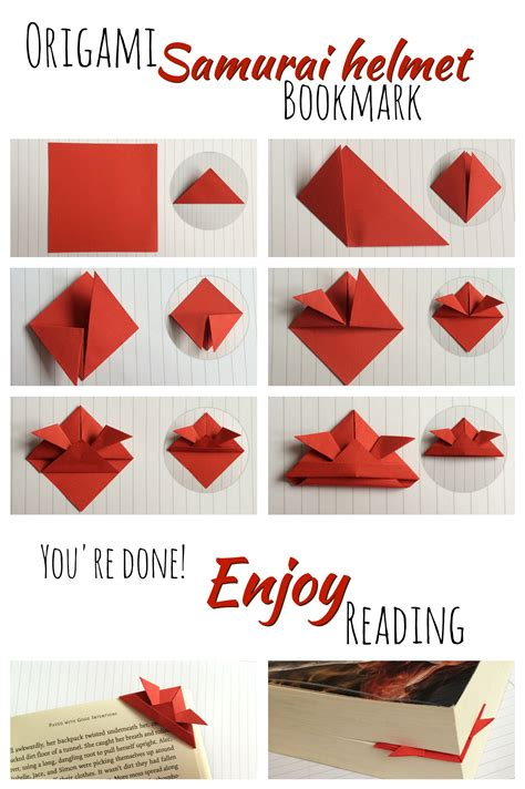 How To Make Origami Bookmarks - origami samurai helmet bookmark tutorial school