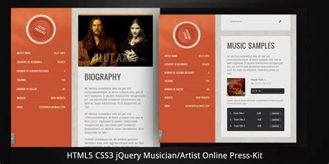 Musician Artist Html5 Online Press Kit By Virtuti Themeforest Epk Template