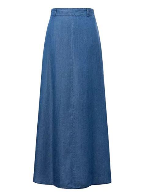 Rok Overall Flare Skirt Denim denim pocket plain flared maxi skirt fashionmia