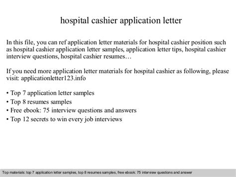 Request Letter Employment Certification Sample hospital cashier application letter