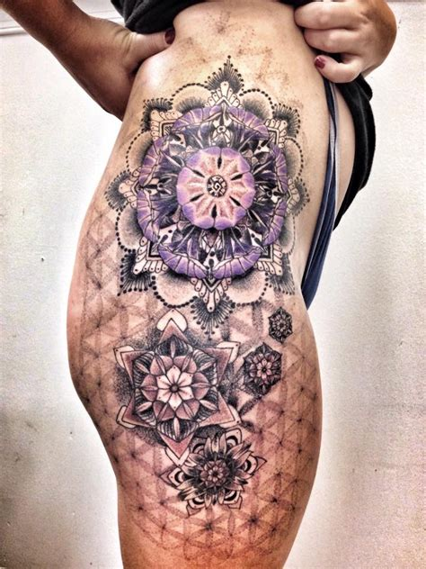 geometric tattoo thigh ideas yo tattoo