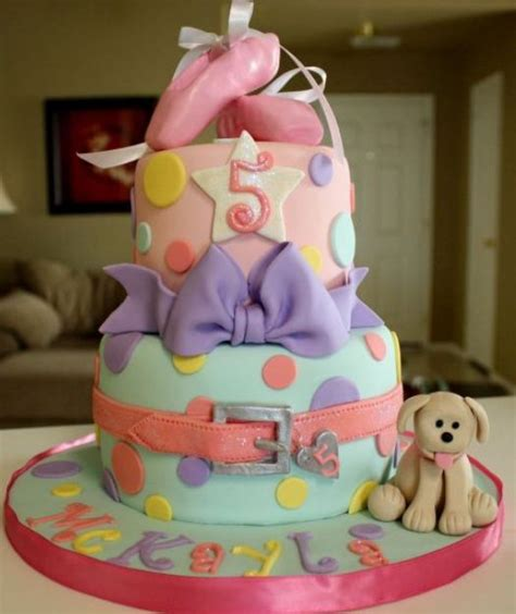 tier pink  baby blue birthday cake   year  girl  ballerina shoes  puppyjpg