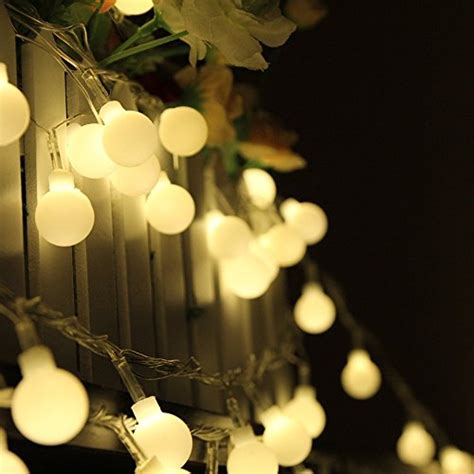 Echosari 174 Frosted Warm White Globe Outdoor String Lights White Lights 100 Viviluxe