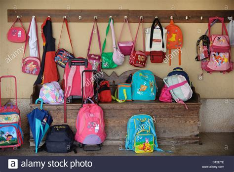 ideas for hanging backpacks kids bags and backpacks hanging on hooks and lying on the