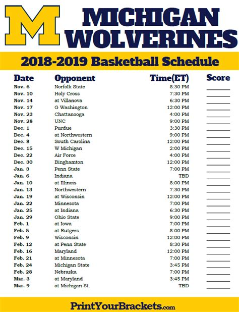 Michigan State Basketball Schedule Printable