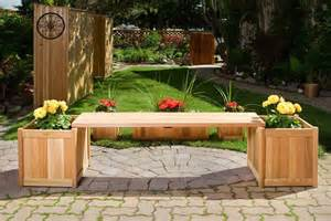 Bench With Planter by Wooden Planter With Benches By All Things Cedar Furniture