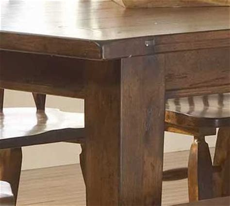 attic heirlooms rustic oak rectangular leg table dining