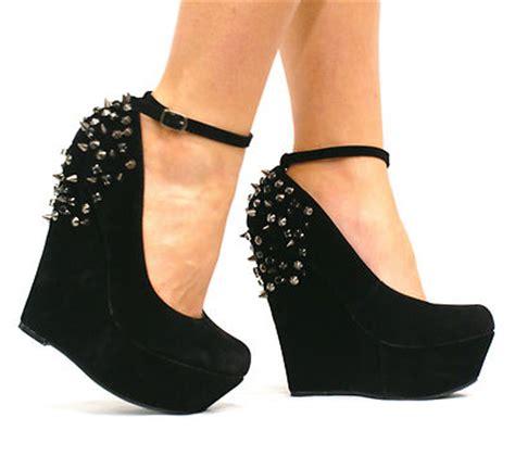 high heeled wedges e40 womens black platform spike high heel